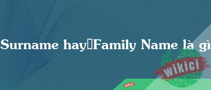 Surname hayFamily Name là gì