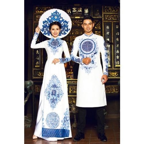 Những mẫu áo dài cưới cách tân đẹp cho cô dâu chú rể năm 2019-1