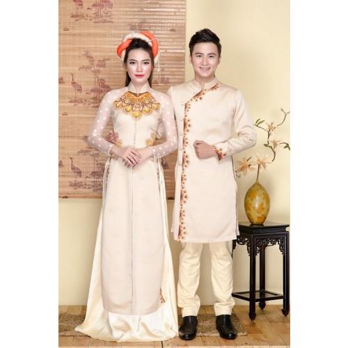 Những mẫu áo dài cưới cách tân đẹp cho cô dâu chú rể năm 2019-2