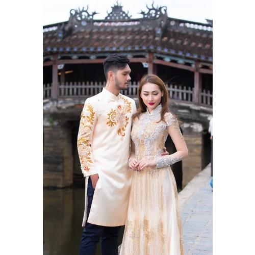 Những mẫu áo dài cưới cách tân đẹp cho cô dâu chú rể năm 2019-5