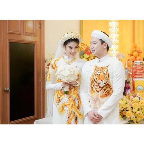 Những mẫu áo dài cưới cách tân đẹp cho cô dâu chú rể năm 2019-7