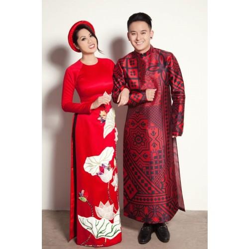 Những mẫu áo dài cưới cách tân đẹp cho cô dâu chú rể năm 2019-8