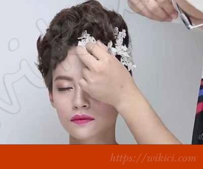 Cách bới tóc đơn giản cho cô dâu tóc ngắn-4