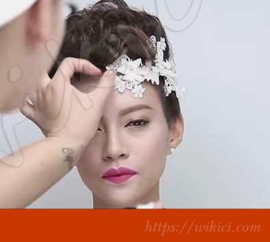 Cách bới tóc đơn giản cho cô dâu tóc ngắn-5