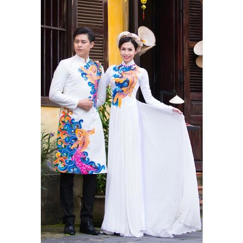 Mẫu áo dài đám hỏi đẹp cho cô dâu chú rể trong mùa cưới 2019-1