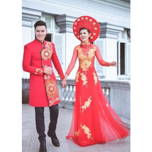 Mẫu áo dài đám hỏi đẹp cho cô dâu chú rể trong mùa cưới 2019-10