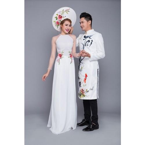 Mẫu áo dài đám hỏi đẹp cho cô dâu chú rể trong mùa cưới 2019-4