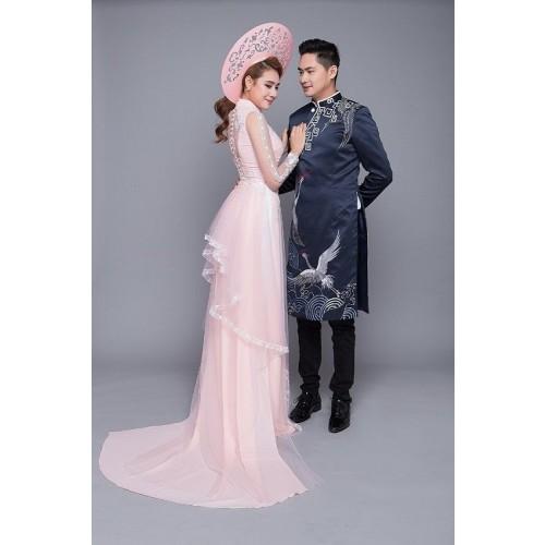 Mẫu áo dài đám hỏi đẹp cho cô dâu chú rể trong mùa cưới 2019-5