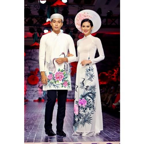 Mẫu áo dài đám hỏi đẹp cho cô dâu chú rể trong mùa cưới 2019-6
