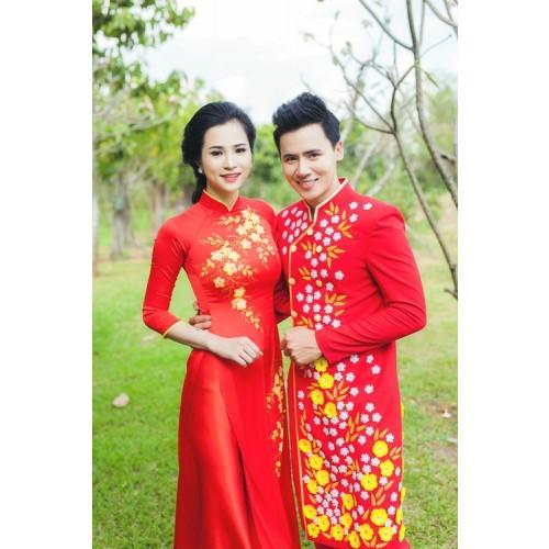Mẫu áo dài đám hỏi đẹp cho cô dâu chú rể trong mùa cưới 2019-7