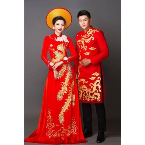 Mẫu áo dài đám hỏi đẹp cho cô dâu chú rể trong mùa cưới 2019-8