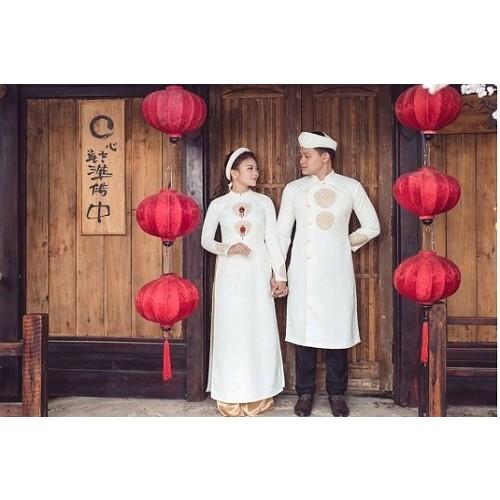 Mẫu áo dài đám hỏi đẹp cho cô dâu chú rể trong mùa cưới 2019-9