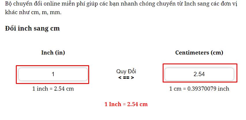 Cách chuyển Đổi Inch Sangcm, mm, m.