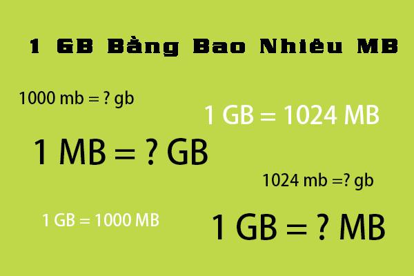 1gb bằng bao nhiêu mb? Đổi GB sang MB