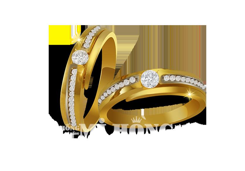 Nhẫn cưới Mi Hồng vàng 18k