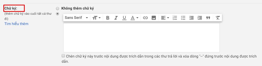 Cách tạo chữ ký trong Gmail - Bước 2