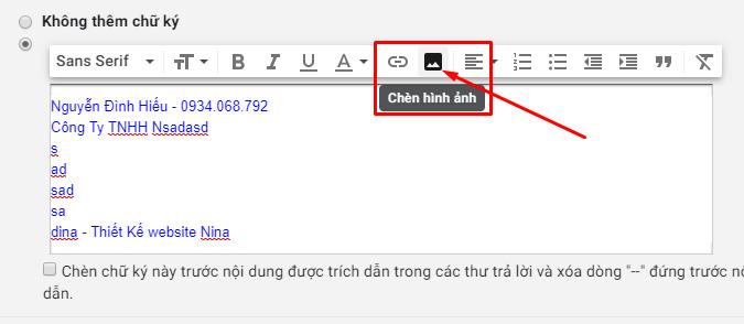 Cách tạo chữ ký trong Gmail Chèn Hình Ảnh