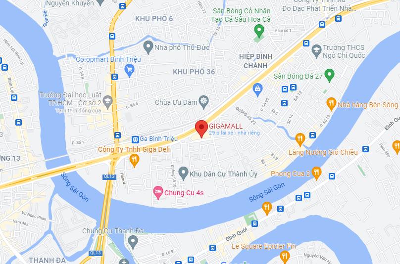 Bản đồ CGVGiga mall Thủ Đức