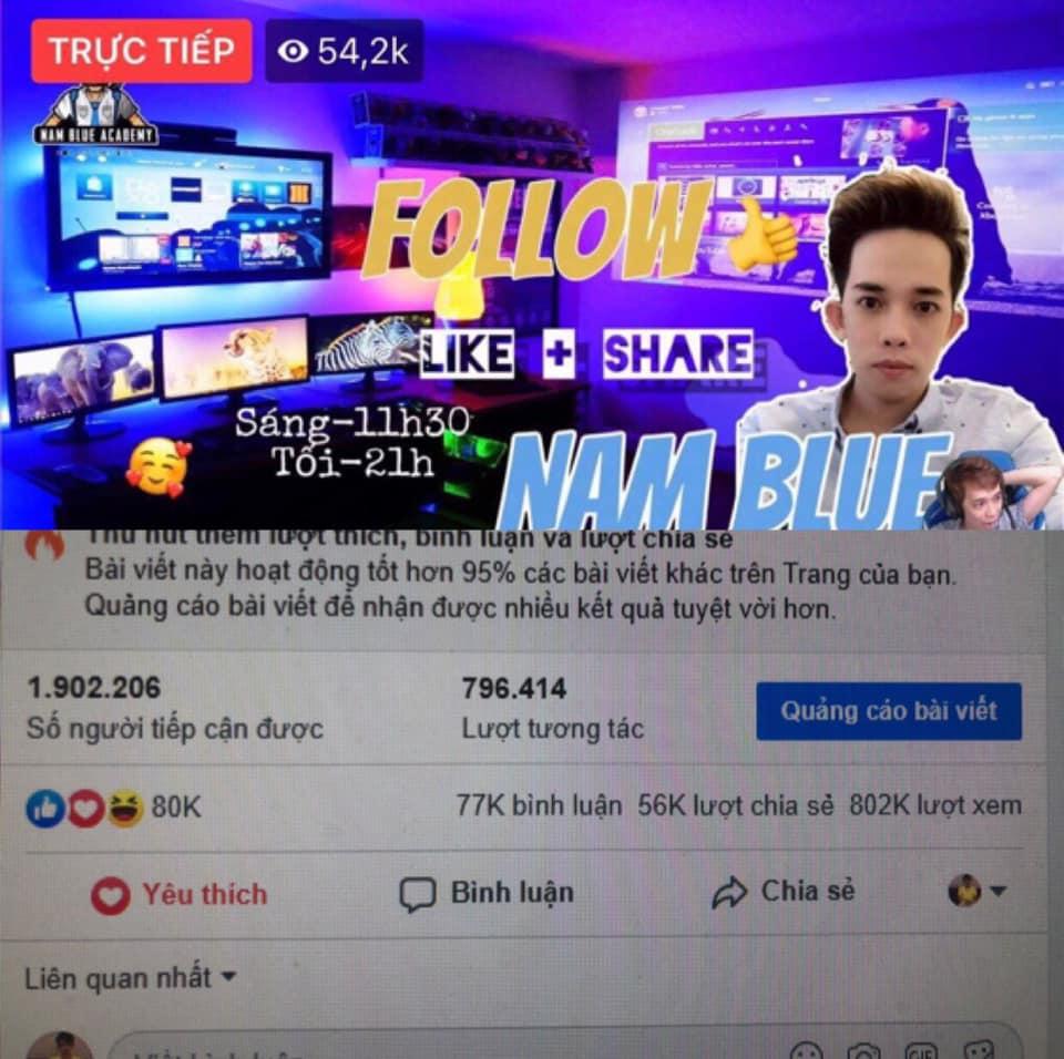 Nam Blue là ai?Tiểu sử streamer Facebook Gaming hàng đầu Việt Nam
