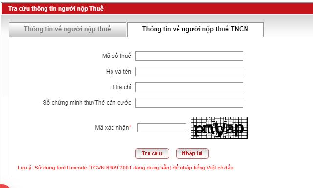 tracuunnt - Cách Tra cứu thông tin người nộp thuế TNCN
